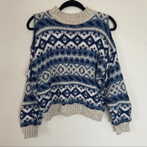 Sweaters - Blue Patterned Knit Sweater